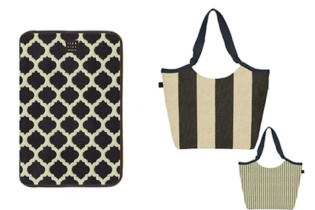 """Taylor iPad case, <a href=""""http://www.1154lill.com/Shop+Our+Collection/More+Ways+to+Shop/By+Price/Under+75/TAYLOR+iPad+Case+-+Moroccan+Tiles.axd?cid=831&amp;page_no=2"""">$69</a> and Wendy cabana stripe bag, <a href=""""http://www.1154lill.com/Shop+Our+Co"""