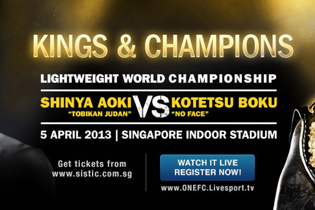 ea595801 How to watch ONE FC 8 live video stream online for 'Kings & Champions' on  April 5 in Singapore