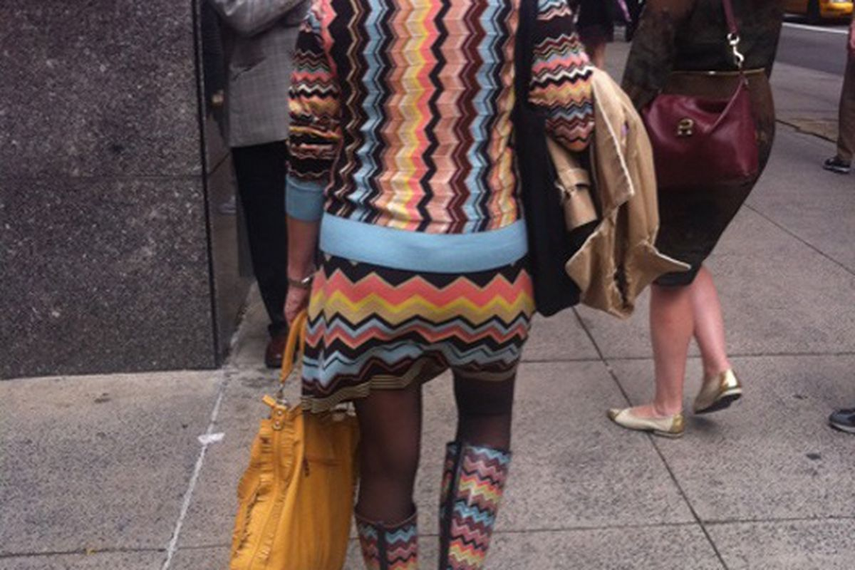 """We know at least one person who will be disappointed. Image via <a href=""""http://ny.racked.com/archives/2011/09/16/thats_dedication_woman_wears_headtotoe_missoni_x_target.php#reader_comments"""">Racked NY</a>"""
