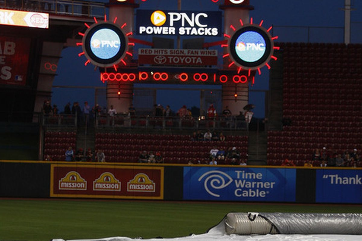 Heavy storms in the area forced the postponement of the Chicago Cubs versus Cincinnati Reds game at Great American Ball Park in Cincinnati, Ohio.  (Photo by John Grieshop/Getty Images)