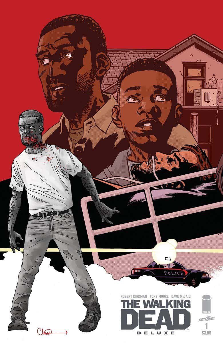 Characters on the front ocver of The Walking Dead Deluxe #1, Skybound Entertainment (2020).