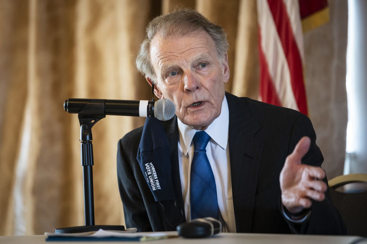 Former House Speaker Michael Madigan speaks during a committee hearing on the Southwest Side on Thursday.