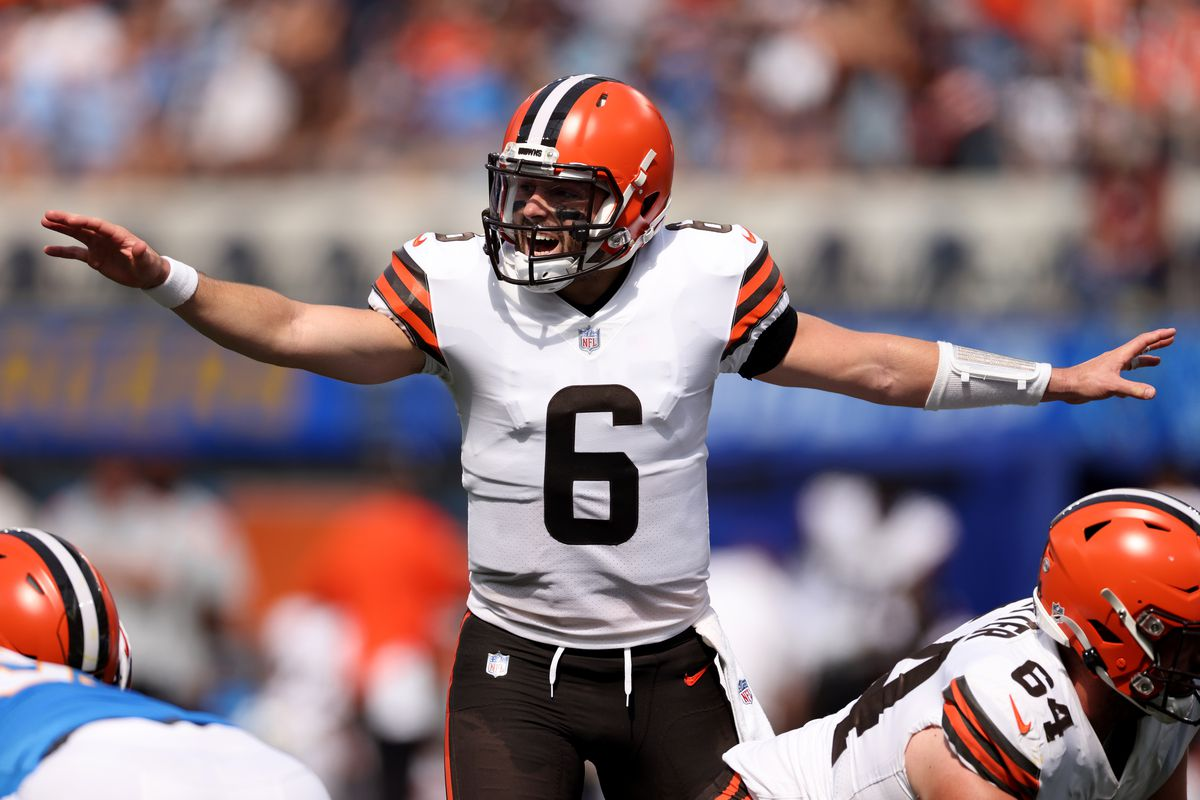 Baker Mayfield #6 of the Cleveland Browns calls a play during a 49-42 loss to the Los Angeles Chargers at SoFi Stadium on October 10, 2021 in Inglewood, California.