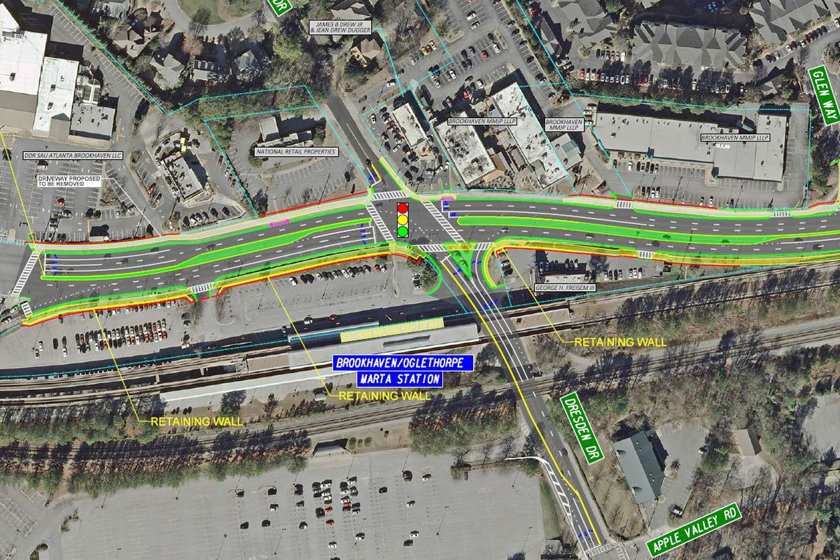 A map showing medians and protected left turn lanes.