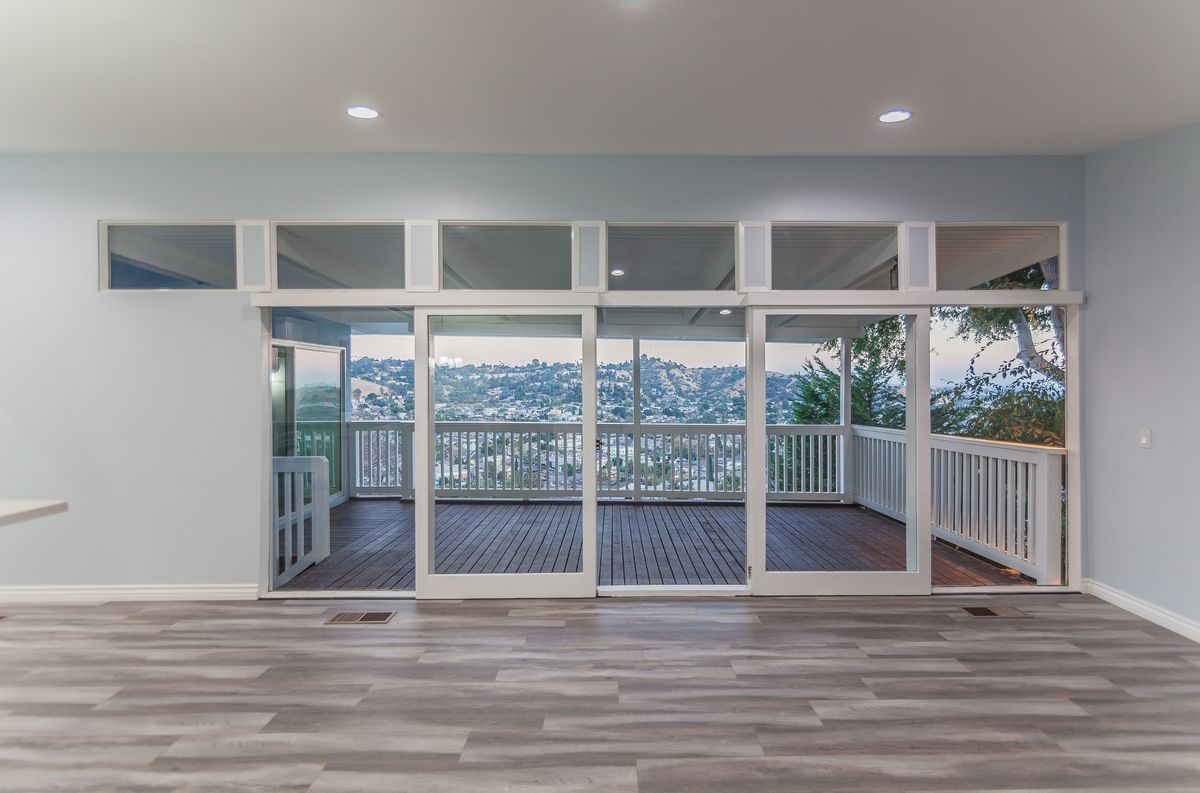 Glass doors leading to deck