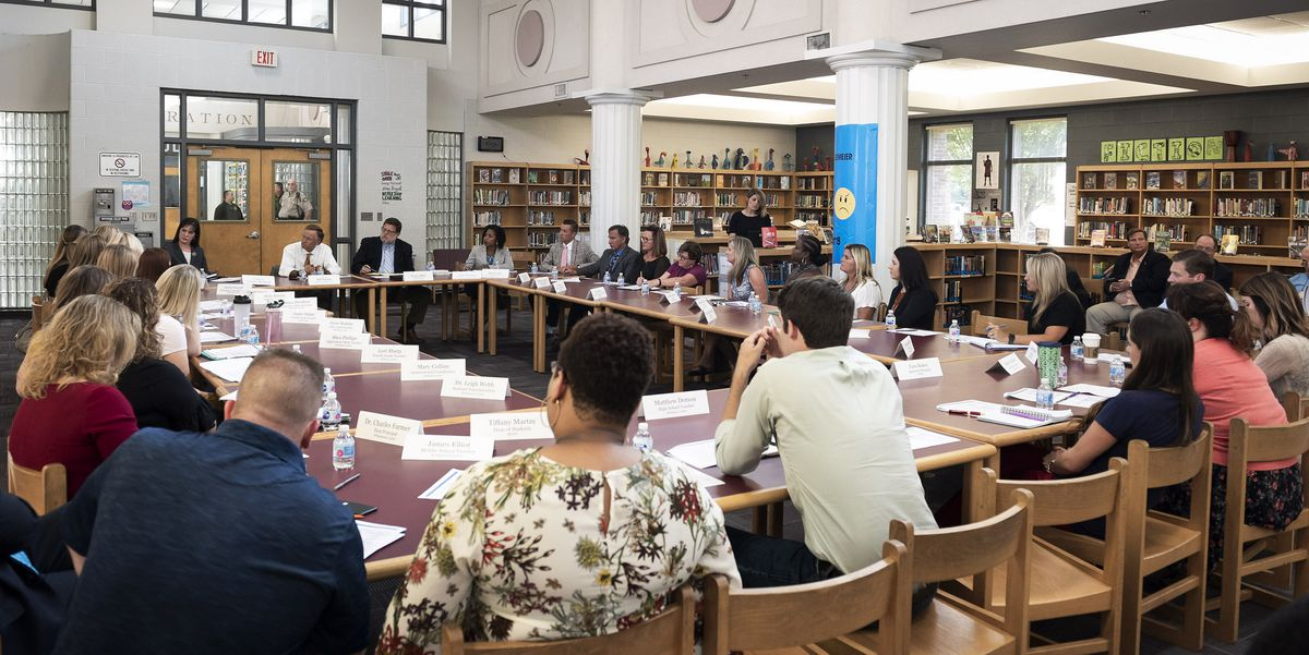Educators in Middle Tennessee participate in the governor's fourth roundtable discussion at Freedom Middle School in Franklin.