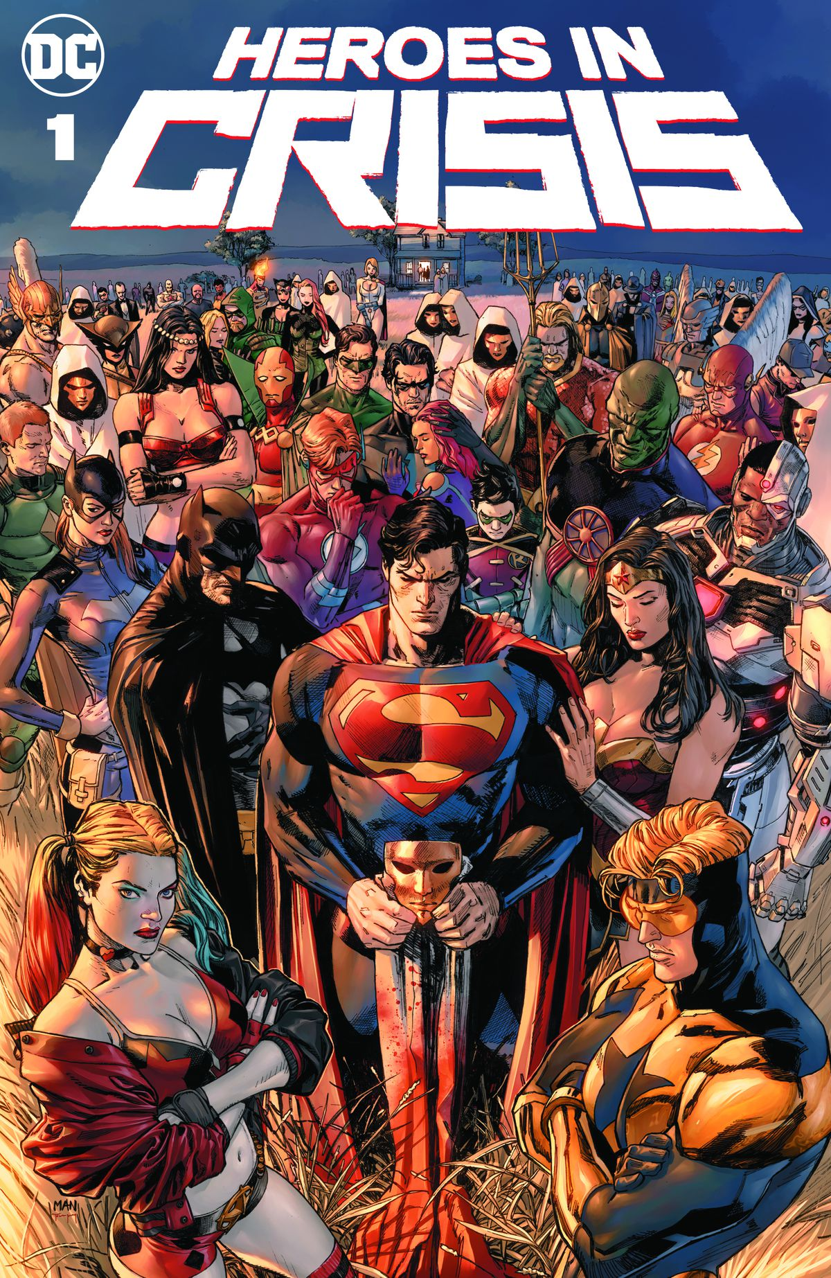 The cover of Heroes in Crisis #1, DC Comics (2018), with correct colors.