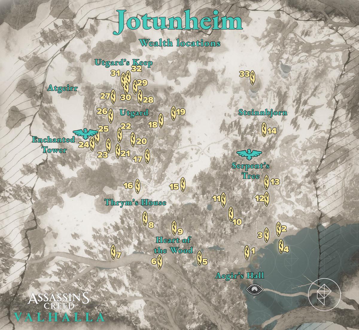 Jotunheim Wealth locations map