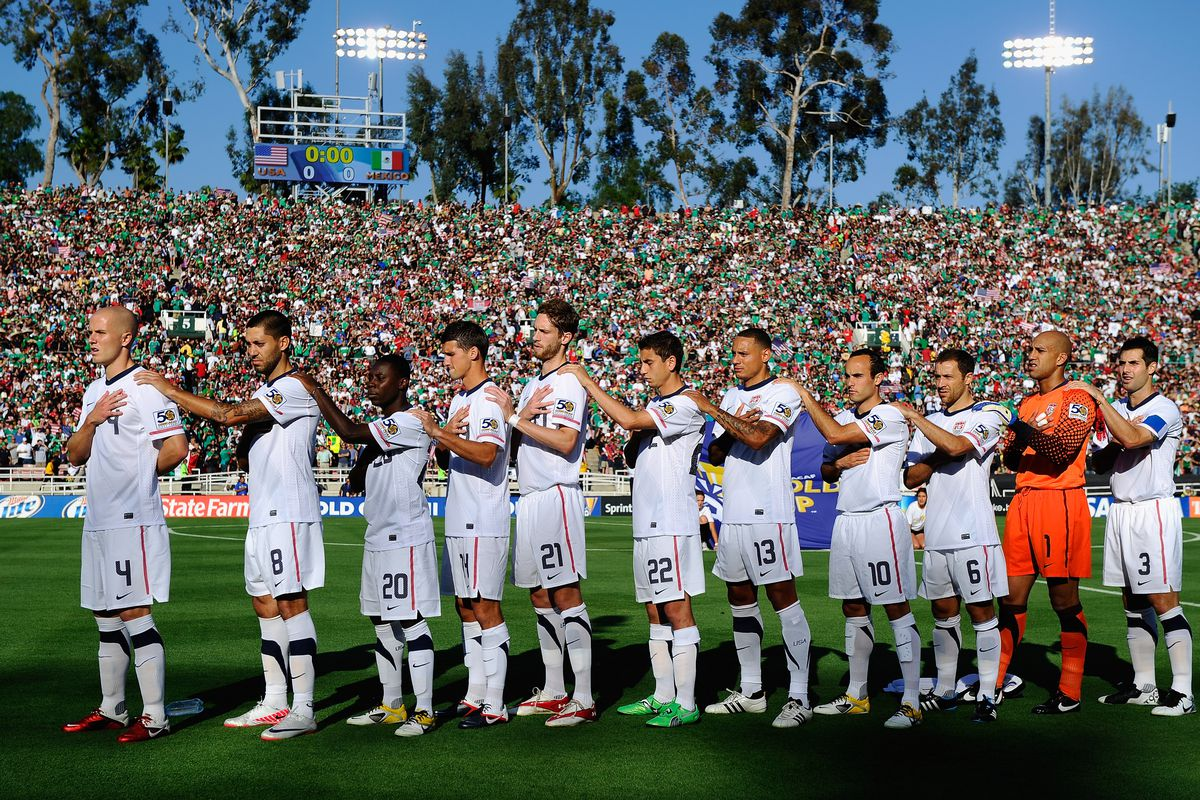 The Lineup from the last USA v Mexico game in the Rose Bowl, the 2011 Gold Cup Final.  Yes, that is Freddy Adu!