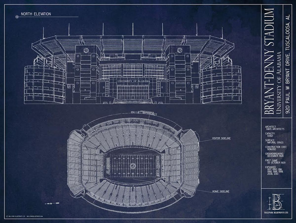 Beautiful bryant denny architectural blueprints now available and again thank you to thomas and ballpark blueprints and thank you to our readers best of luck and roll tide malvernweather Images