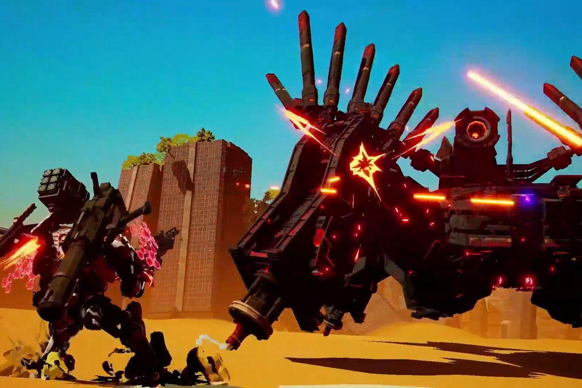 mech suit battling an enemy in Daemon x machina