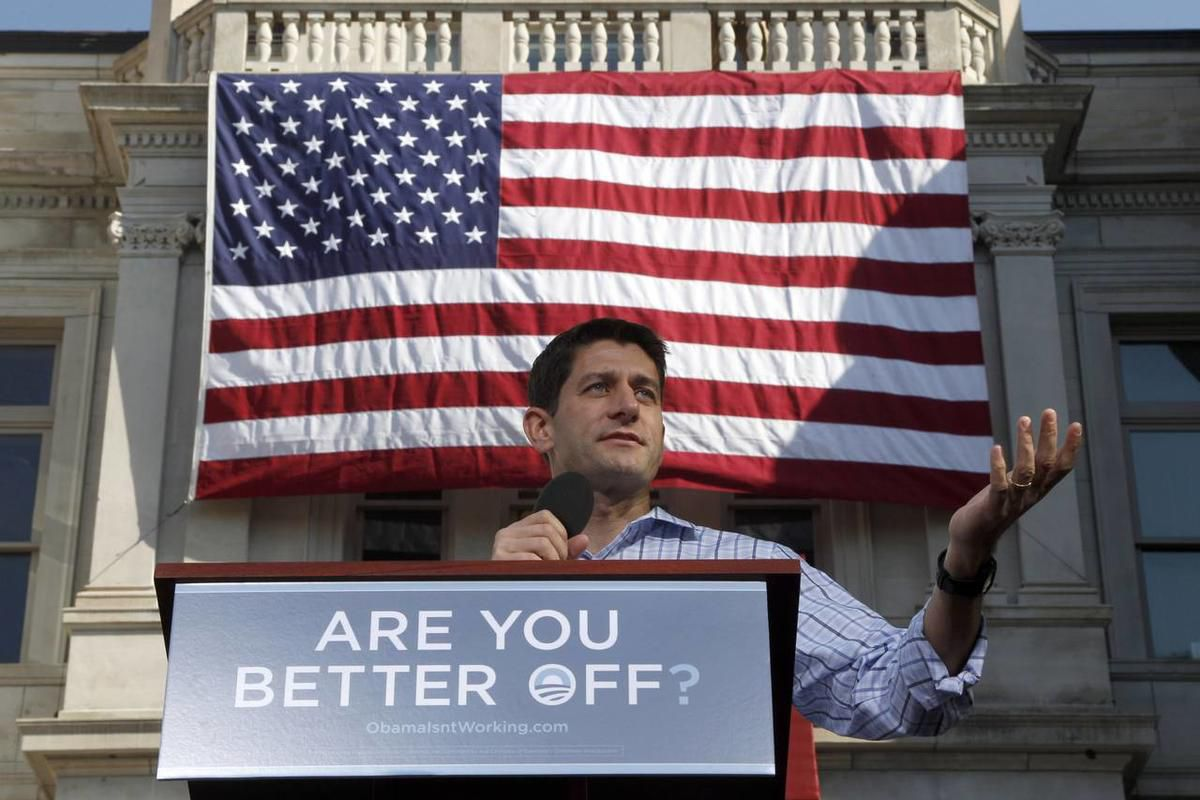 Republican vice presidential candidate, Rep. Paul Ryan, R-Wis. speaks during a campaign event at the Dallas County Courthouse, Wednesday, Sept. 5, 2012, in Adel, Iowa.