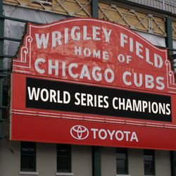 The World Series Champions display, back on the marquee