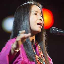 Grammy Award winner, Yangjin Lamu performs with a group of students from Southeast Asia. Salt Lake Interfaith Roundtable presents Sacred Music, religious music, dance and performance representing faith traditions worldwide Sunday, Oct. 18, 2015, inside the tabernacle on Temple Square, in Salt Lake City.