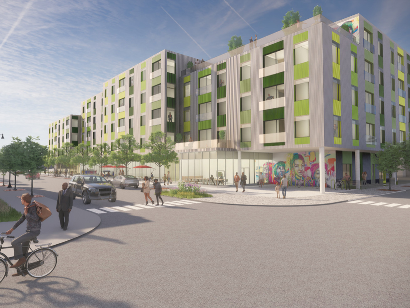 A rendering of a planned affordable housing development in Auburn Gresham