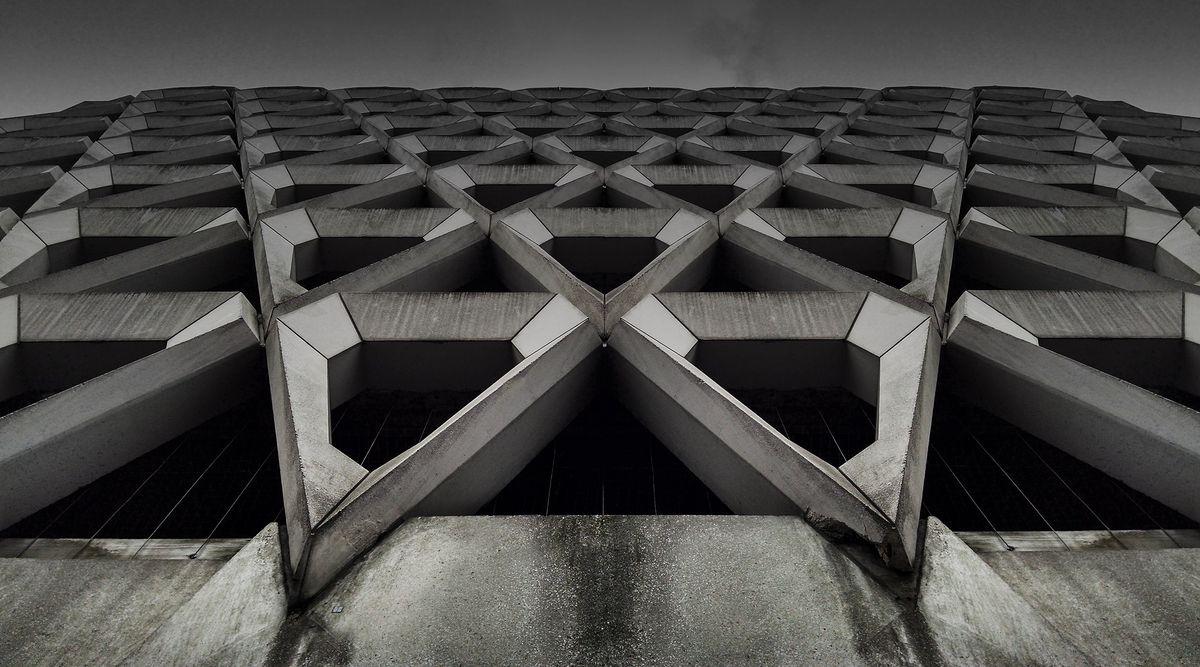 Close up shot of concrete diamond-shaped facade