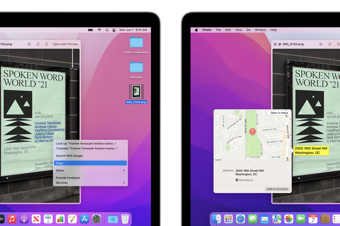 Live Text is no longer an M1-exclusive in Apple's newest macOS Monterey beta