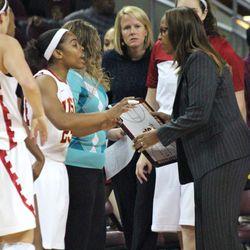Briana Barrett and Cynthia Cooper-Dyke discuss the gameplan.