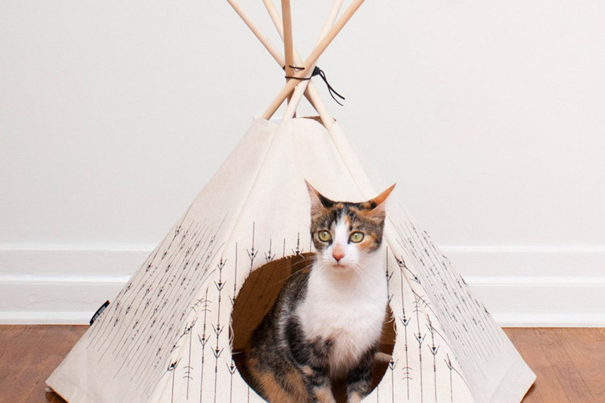 """Cat Tipi, <a href=""""http://shop.tenover6.com/collections/for-the-home/products/cat-tipi-spotty-foot"""">$64</a> at TenOverSix"""