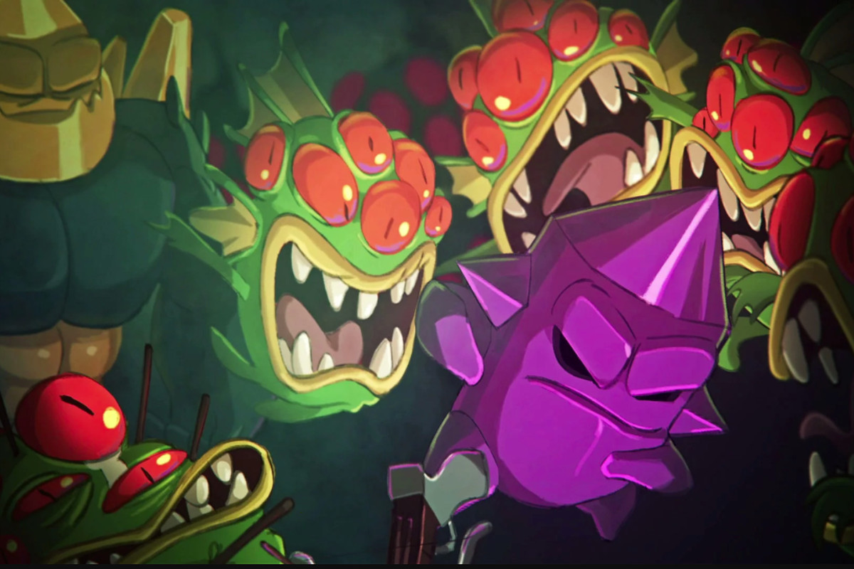 promotional shot for the game Nuclear Throne showing several hideous mutated beasts