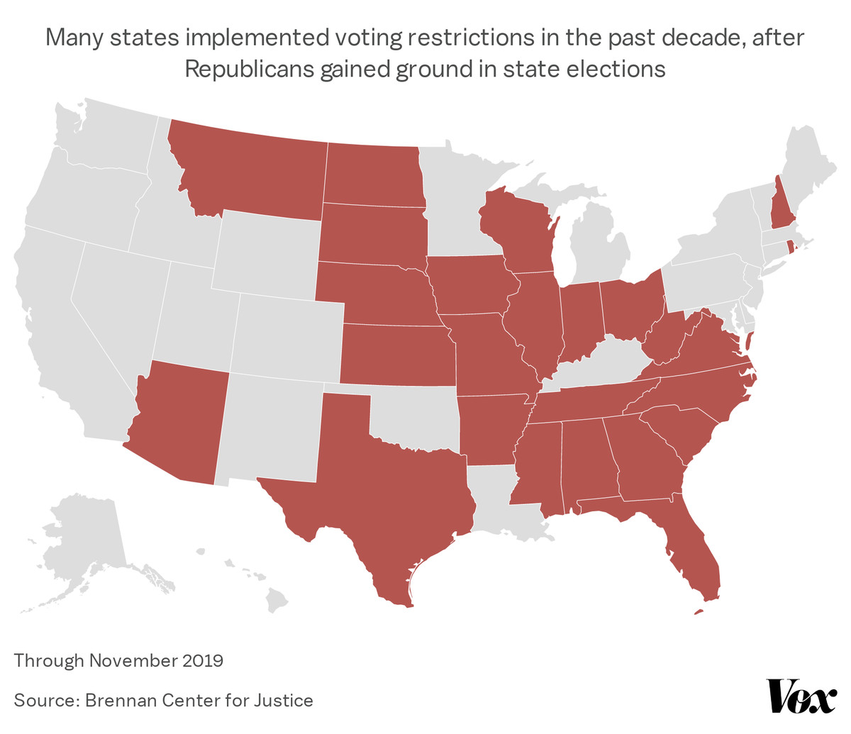 A map showing state voting restrictions enacted 2010-2019, mostly in Republican states.