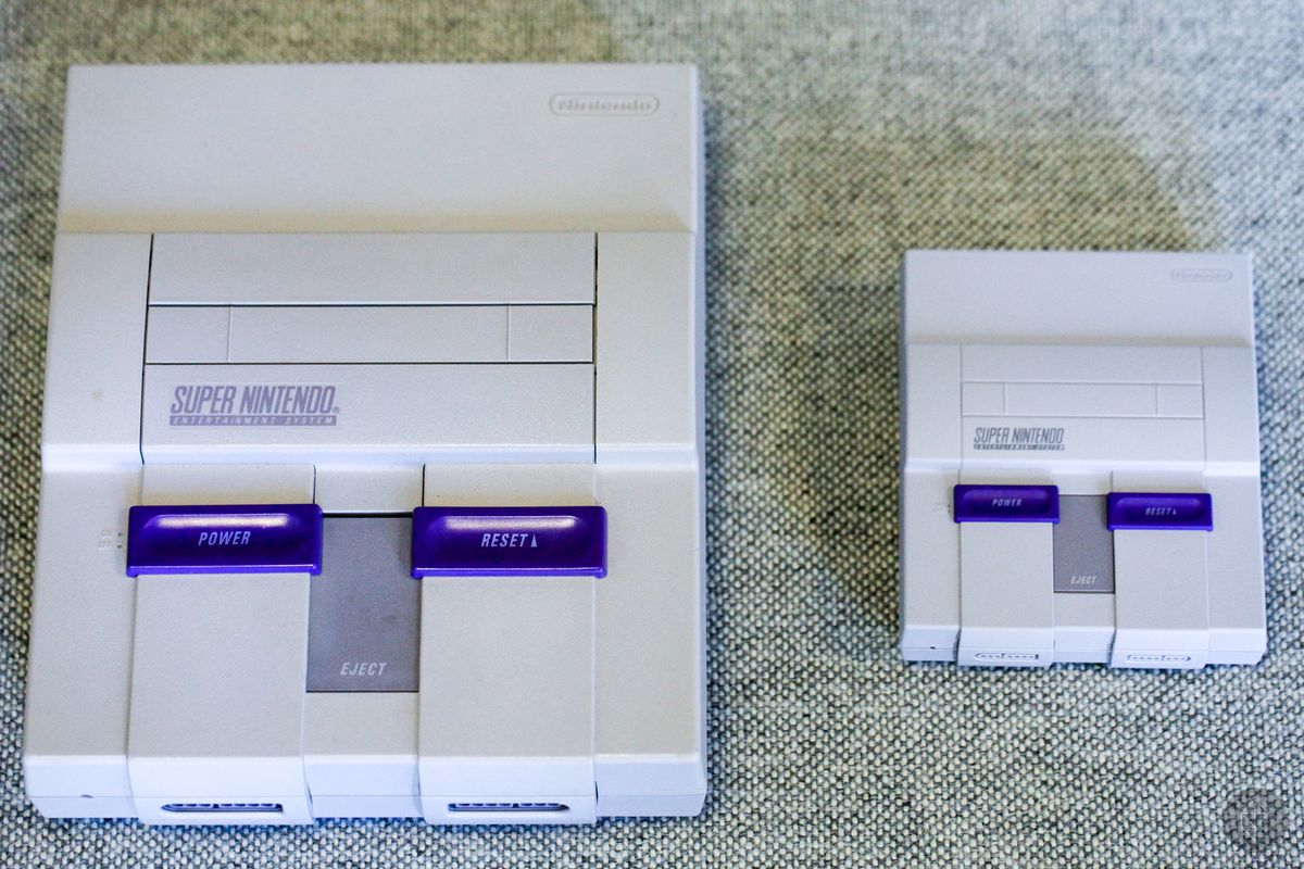 SNES Classic with original SNES on the left
