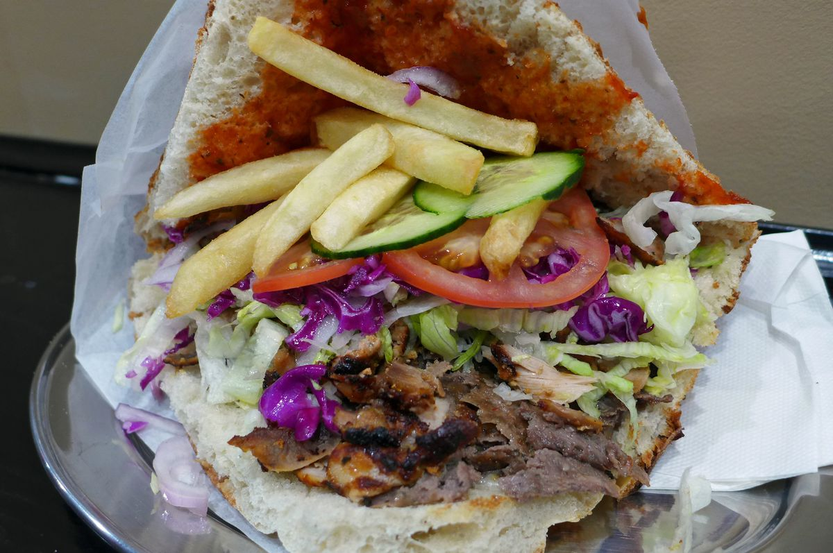 The mixed meat doner sandwich with fries inside