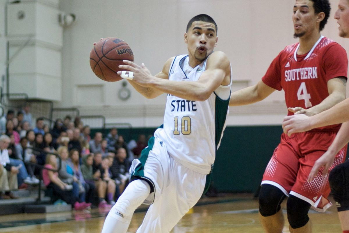 Sacramento State guard Mikh McKinney drives in a home game against Southern Utah.