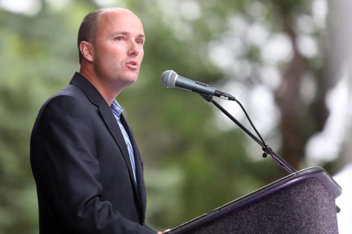 Lt. Gov. Spencer J. Cox speaks at a vigil for the victims and survivors of the mass shooting at a gay nightclub in Orlando, Florida, outside of the Salt Lake City-County Building on Monday, June 13, 2016.