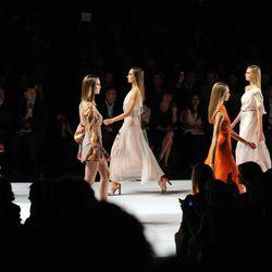 Models walk the runway during the Carolina Herrera spring 2013 show, Monday, Sept. 10, 2012, during Fashion Week in New York.