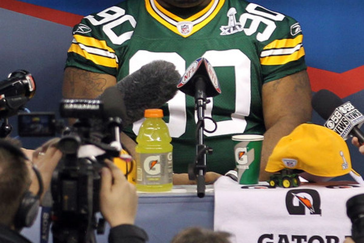 Someone asked B.J. Raji who he thought would win Super Bowl XLV. He was not amused. (Photo by Ronald Martinez/Getty Images)
