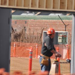 New double doors being installed in right field -