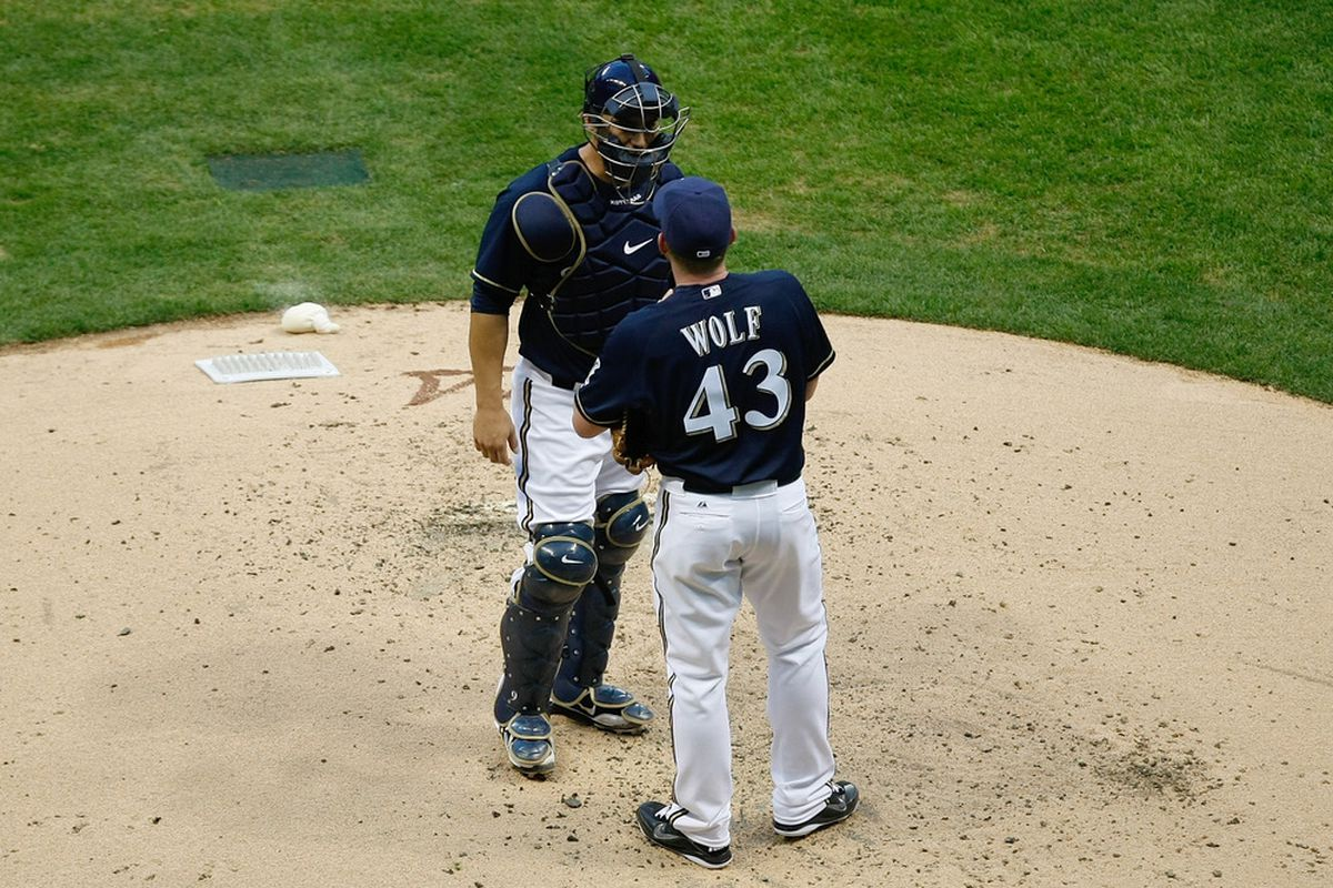 MILWAUKEE, WI - MAY 11: Randy Wolf #43 of the Milwaukee Brewers talks with George Kottaras #9 during the game against the Chicago Cubs Miller Park on May 11, 2012 in Milwaukee, Wisconsin. (Photo by Scott Boehm/Getty Images)