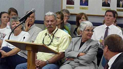 Republican gubernatorial candidate Don Maes (far right, in white shirt) was among witnesses who opposed common standards during Aug. 2 testimony to the State Board of Education.