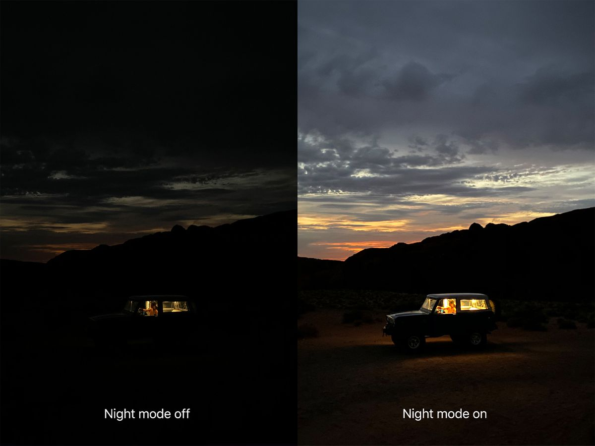 A diptych depicting a jeep in the dessert, one photo very dark, one much brighter.