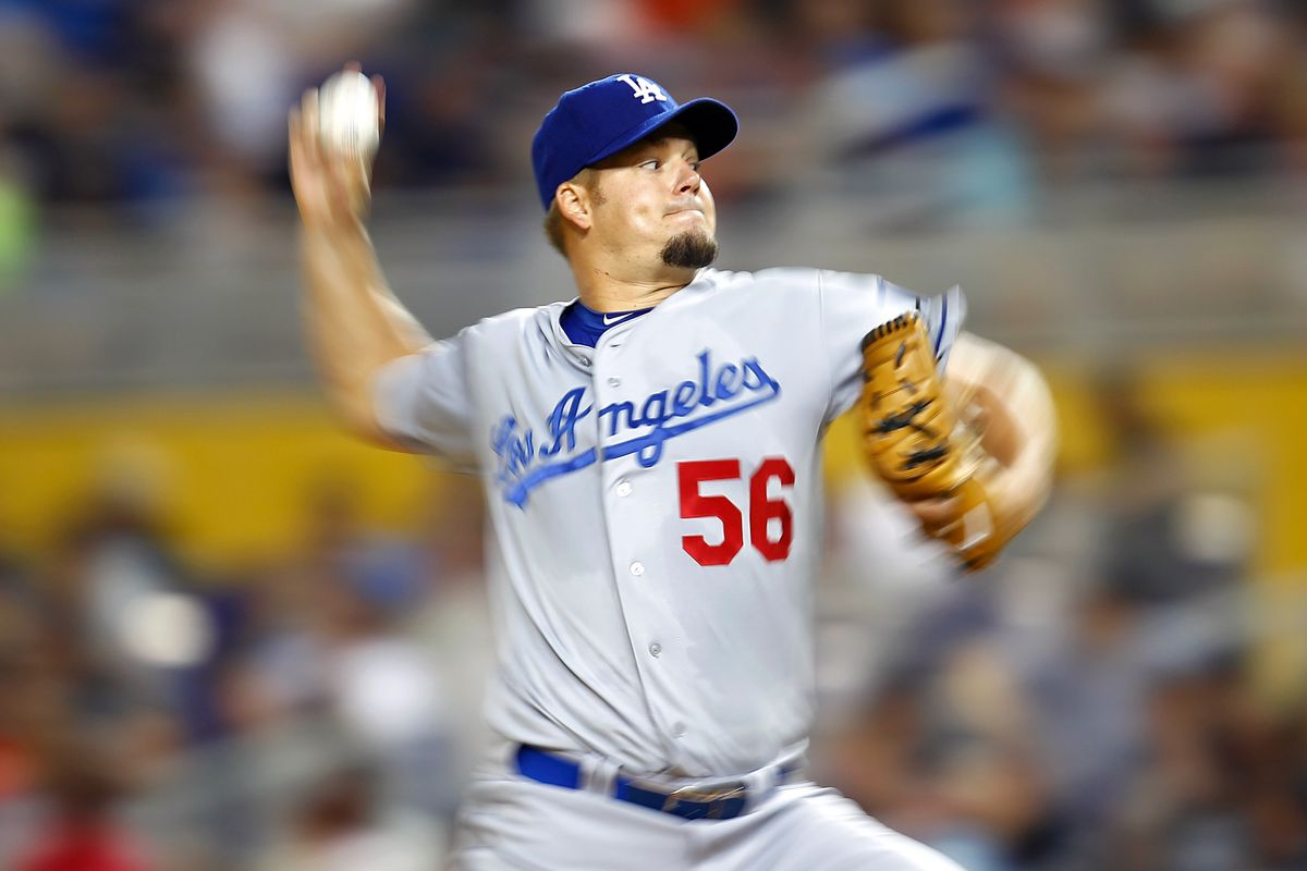 MIAMI, FL - AUGUST 11:  Joe Blanton #56 of the Los Angeles Dodgers pitches during a game against the Miami Marlins at Marlins Park on August 11, 2012 in Miami, Florida.  (Photo by Sarah Glenn/Getty Images)