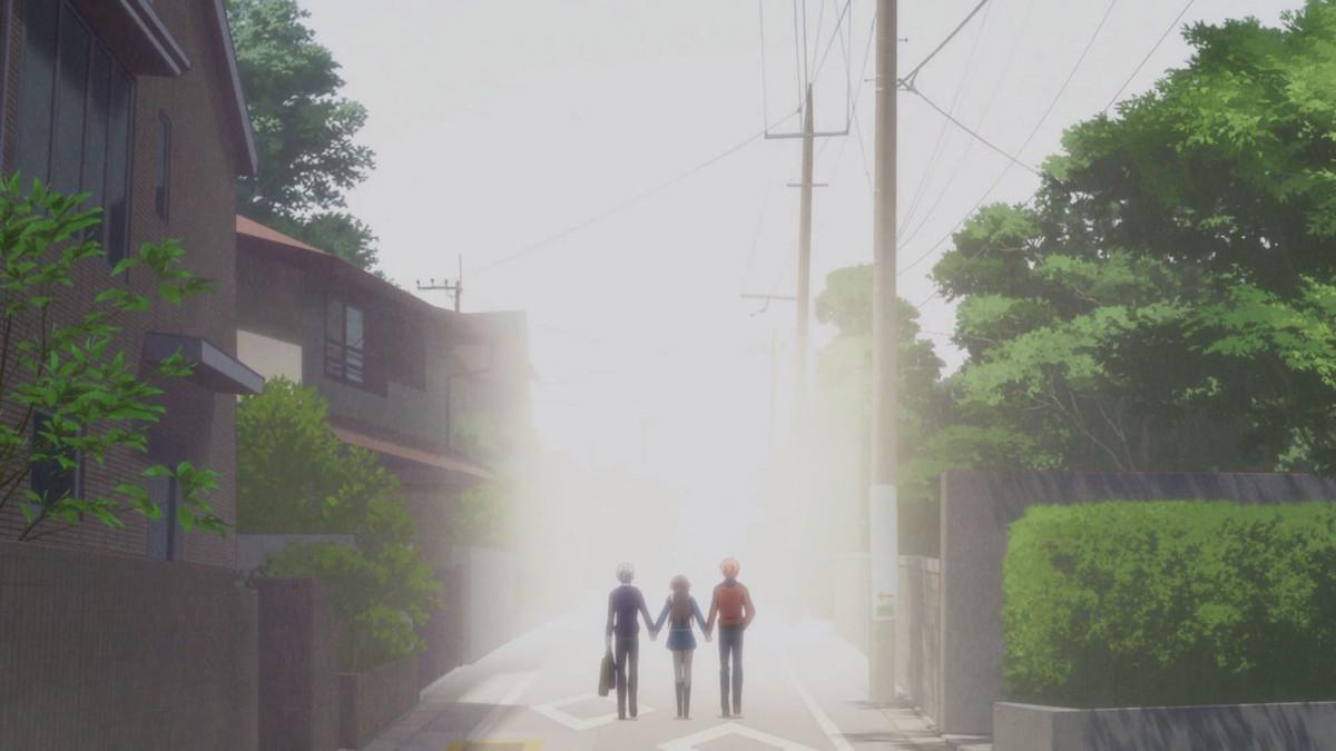 tohru walking hand in hand with kyo and yuki