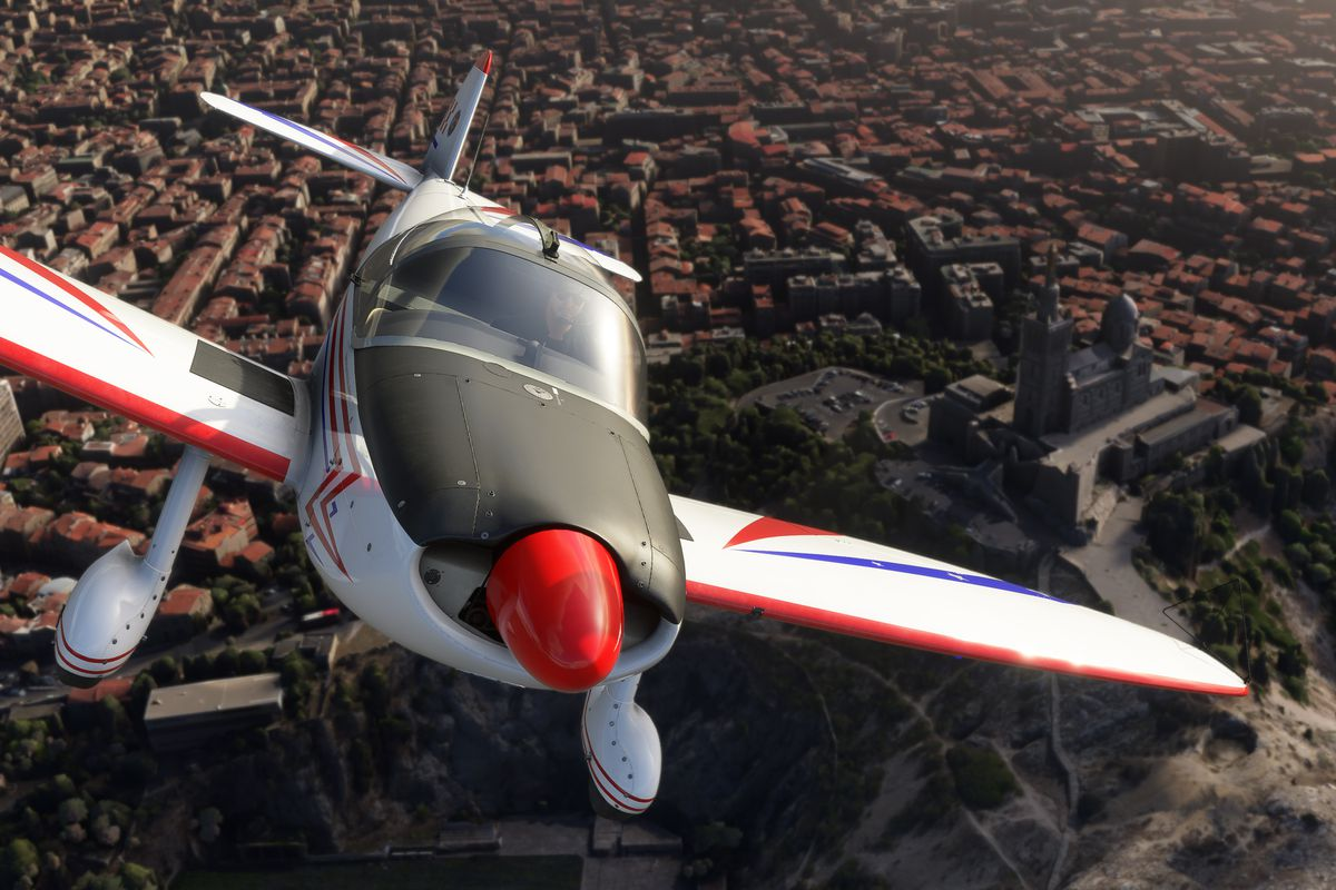 head-on shot of a single engine prop plane banking into an ascent