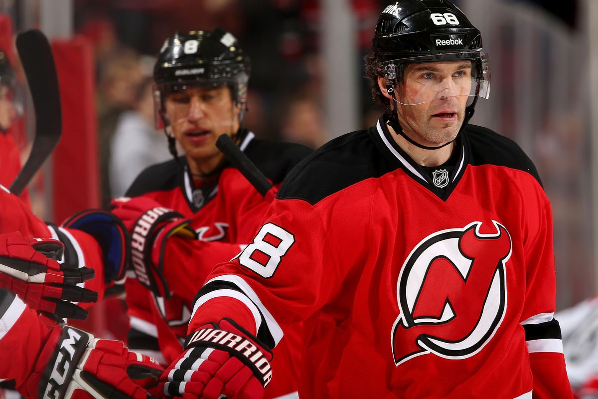 For whatever reason, there isn't a picture in the stream for tonight's game so here's one of Jaromir Jagr after he scored on Wednesday. Pretend he's smiling and in the away jersey.