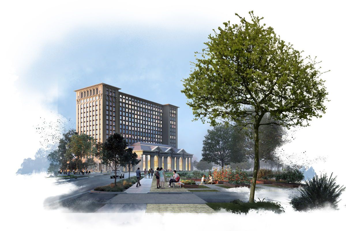 A rendering of Michigan Central Station displays the renovated Beaux-Arts building as a brightly-lit and bustling business center, with people clustering on the sidewalk amid scattered trees.