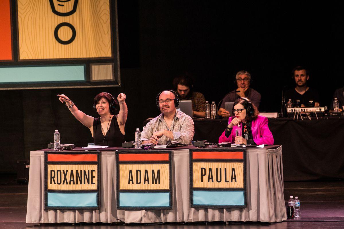 Roxanne Roberts, Adam Felber, and Paula Poundstone on the 'Wait Wait' panel
