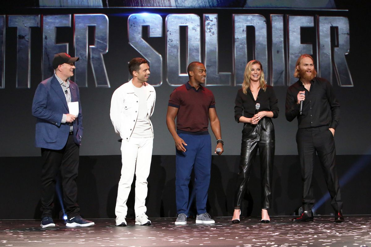 Kevin Feige, Sebastian Stan, Anthony Mackie, Emily VanCamp, and Wyatt Russell of 'The Falcon and The Winter Soldier' took part today in the Disney+ Showcase at Disney's D23 EXPO 2019