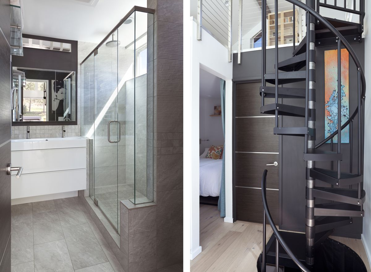A bathroom has a very long glass shower that has a long clerestory window running above it at the top of the wall. The master bedroom is not large, and almost filled by the bed.