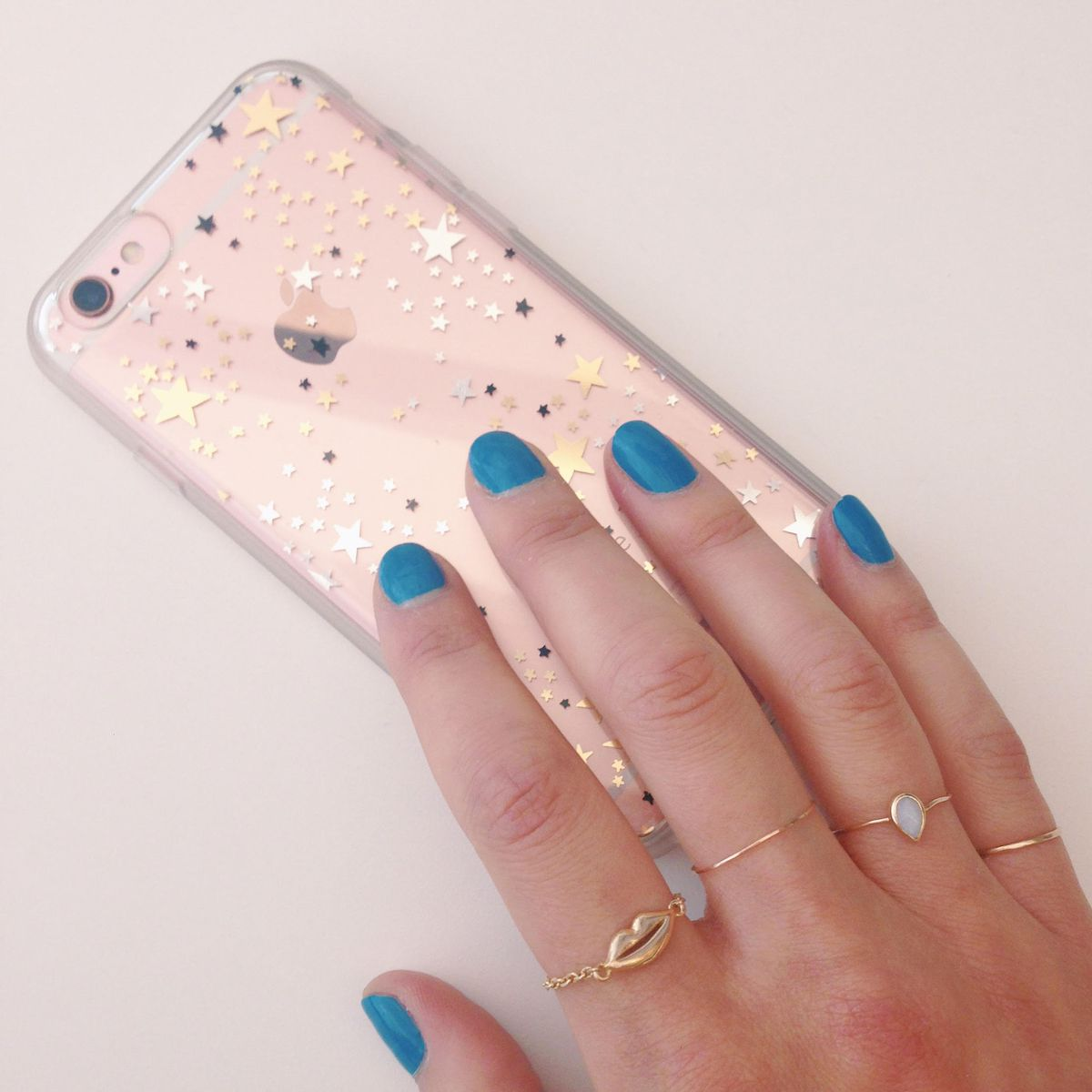 The author with her star-printed Sonix phone case.