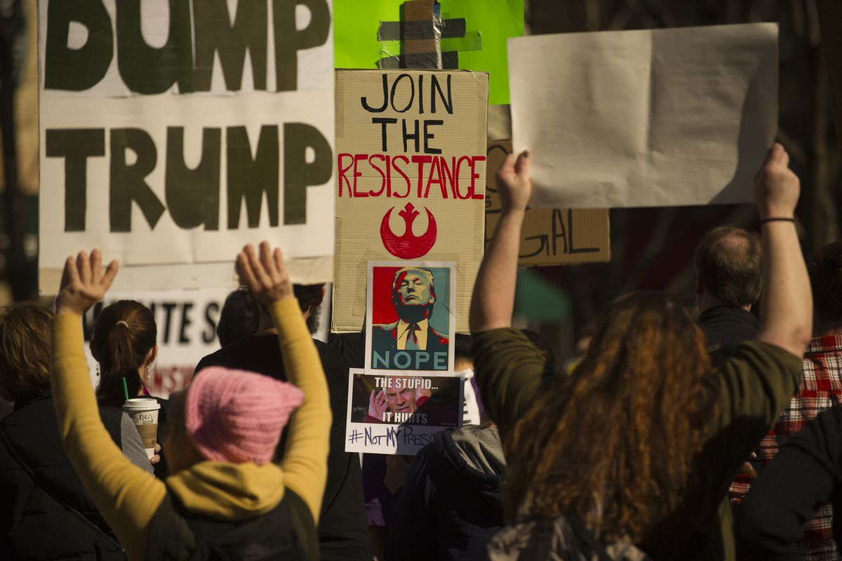 Anti-Trump Protesters Demonstrate In Pittsburgh