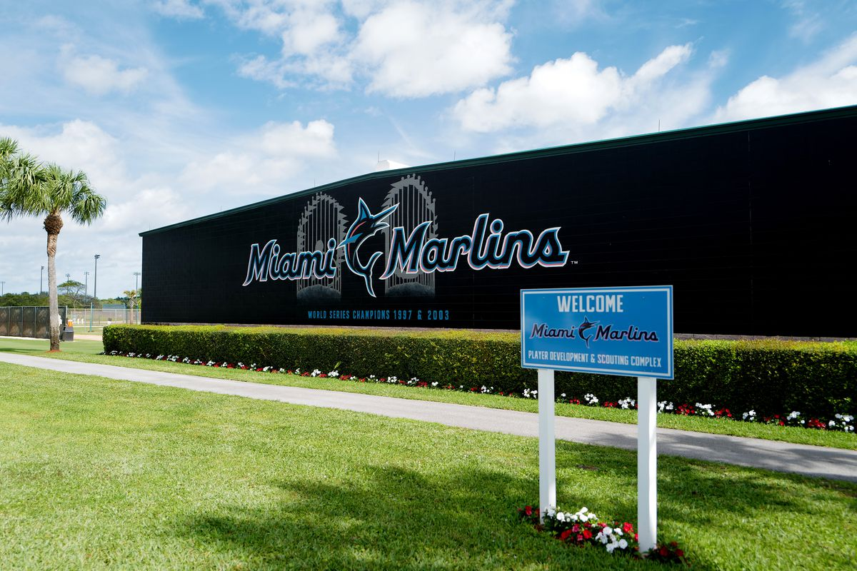 A general view of the Miami Marlins spring training complex prior to Derek Jeter speaking with the media at the at Roger Dean Chevrolet Stadium