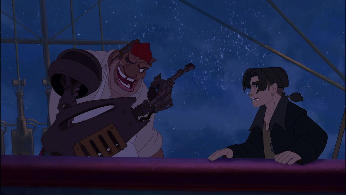 long john silver and jim hawkins on the deck of a ship in space