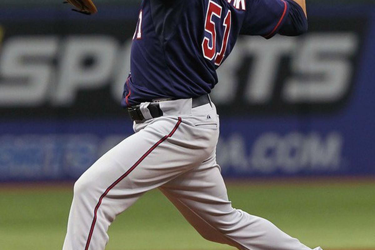 April 22, 2012; St. Petersburg, FL, USA; Minnesota Twins relief pitcher Anthony Swarzak (51) throws a pitch in the sixth inning against the Tampa Bay Rays at Tropicana Field. Mandatory Credit: Kim Klement-US PRESSWIRE