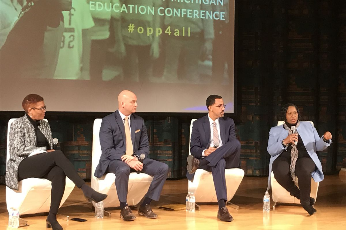Teresa Weatherall Neal, superintendent of the Grand Rapids school district, speaks during a panel discussion that also featured, from left, Detroit Free Press columnist Rochelle Riley, Detroit Superintendent Nikolai Vitti and former U.S. Education Secretary John King.