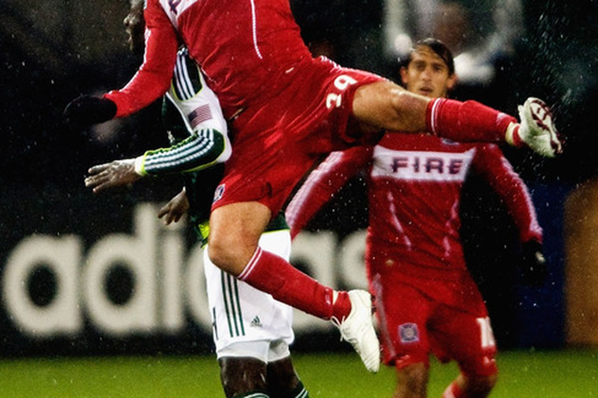 PORTLAND, OR - APRIL 14: Diego Chaves #99 of the Chicago Fire goes up high for a ball during the first half of the game against the Portland Timbers at Jeld-Wen Field on April 14, 2011 in Portland, Oregon. (Photo by Steve Dykes/Getty Images)
